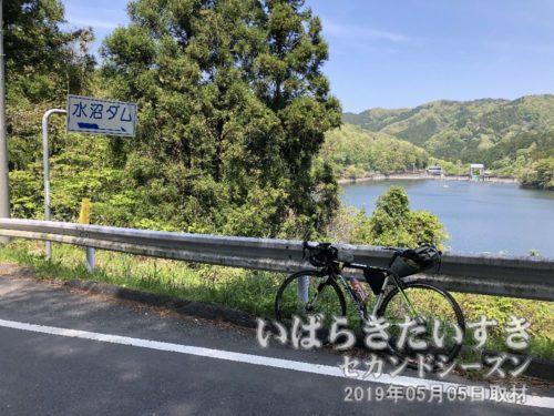水沼ダム〔茨城県北茨城市華川町〕<br>木々のトンネルを過ぎると、右手に水沼ダムが広がります。
