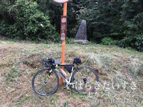 「道祖神峠の碑」と記念撮影。