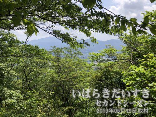 難台山から筑波山方面の眺め<br>低山は木々が多く、伐採など手が入っていなければ、視界は良くありません。