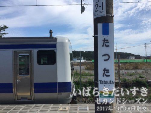 竜田駅駅名標と常磐線E531系