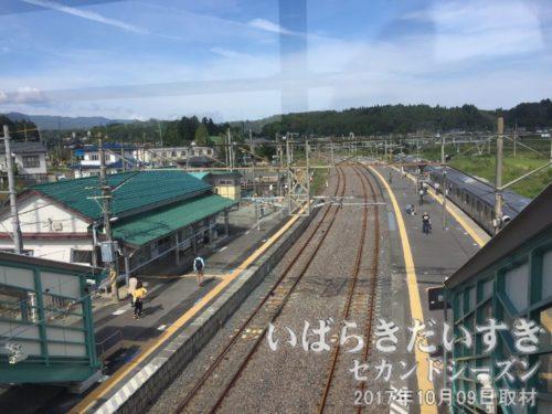 跨線橋から竜田駅駅舎、富岡駅方面を望む
