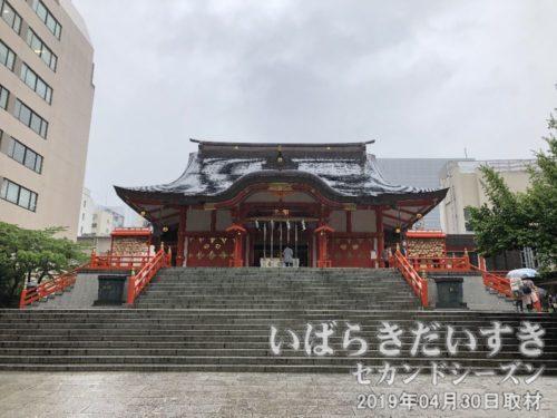 新宿花園神社 拝殿<br>重厚感のあるコンクリート製の拝殿。1965年(昭和40年)に建て替えられました。
