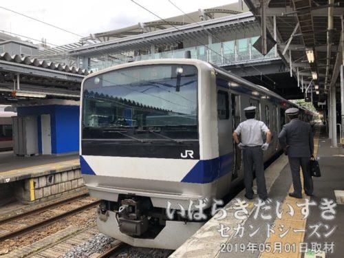 いわき駅発、富岡駅行き。発車まで4,50分ほどあります。。。