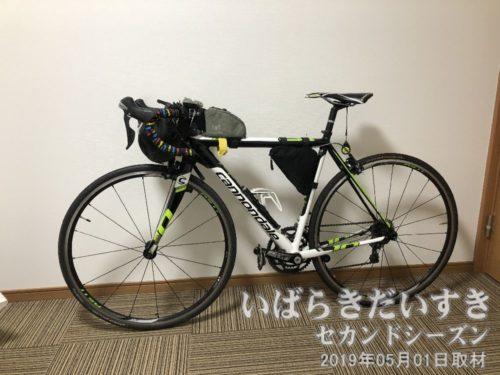 自転車を部屋に置かせてもらえた<br>ホテルの係の方のご厚意で、ロードバイクをばらす(輪行状態)ことなく、部屋に持ち込ませていただけました。ありがとうございます。