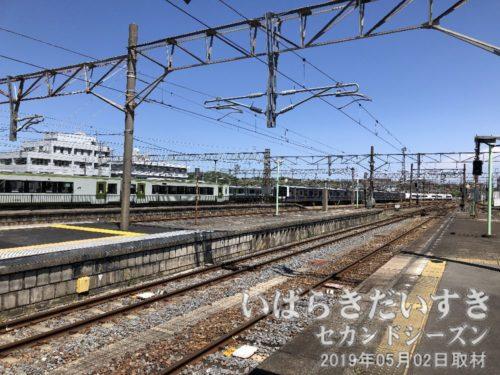 いわき駅の車両基地<br>水郡線で使われていた「キハ110系」や、常磐線「E501系」等の車両が見えます。失禁ものです。