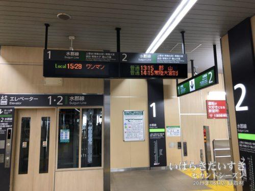 水戸駅で常磐線から水郡線に乗り換え。