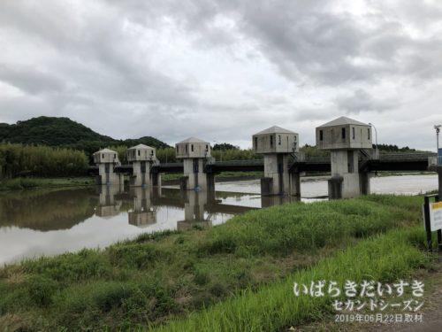 久慈川の水量を管理する、岩崎堰。