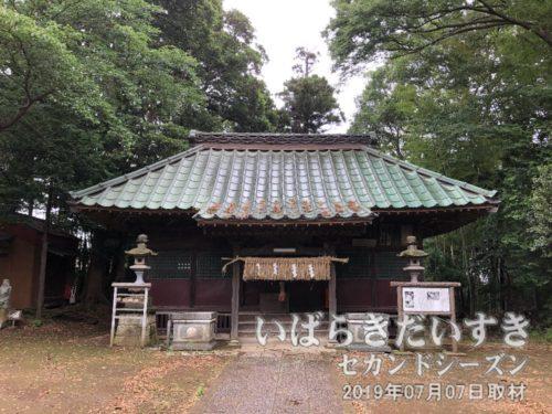 布川神社 拝殿〔茨城県北相馬郡利根町布川〕<br>この高台にある布川神社から、西方にある徳満寺までの敷地が布川城址となります。