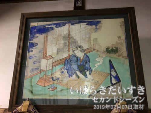 徳満寺の水子絵馬 / 徳満寺の間引き絵馬<br>生まれたばかりの赤子の首を絞め間引く様子。この絵を見た少年國男は、心を揺り動かされ、後の民俗学の道に進むのであった。