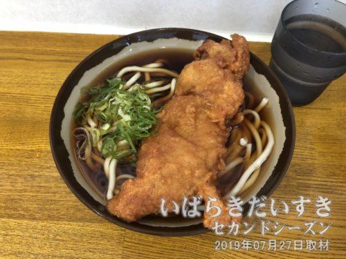 我孫子駅 弥生軒 唐揚うどん(1個)420円。