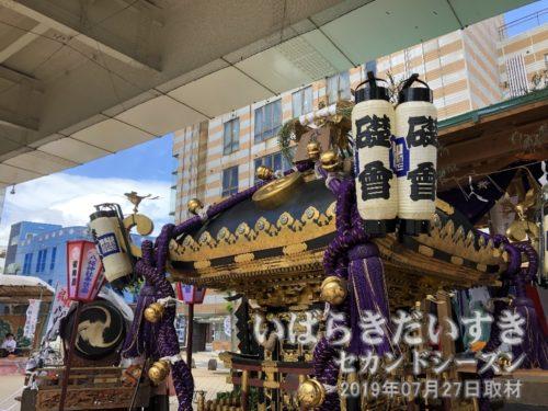 馬に置かれている八坂神社の神輿には、礎會の提灯。