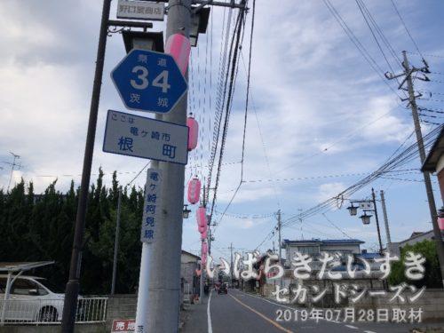 標識には「竜ヶ崎市 根町」の文字。