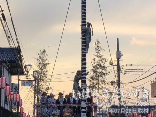 お囃子が始まり、舞男が柱を上ります。