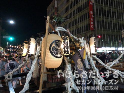 常磐神社の神輿 と提灯<br>偕楽園前にある、常磐神社〔茨城県水戸市常磐町〕の神輿です。