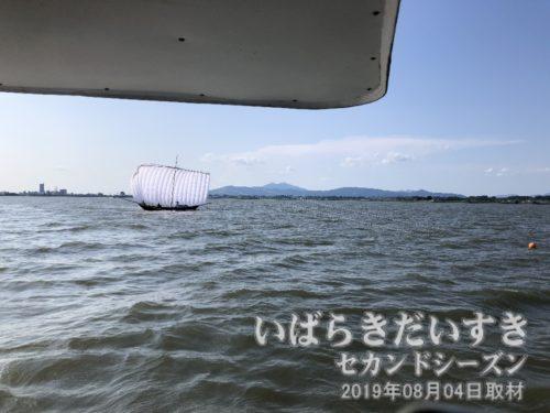 土浦市街地と帆曳船と筑波山と霞ヶ浦と私