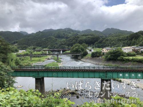久慈川と水郡線の鉄橋を望む。