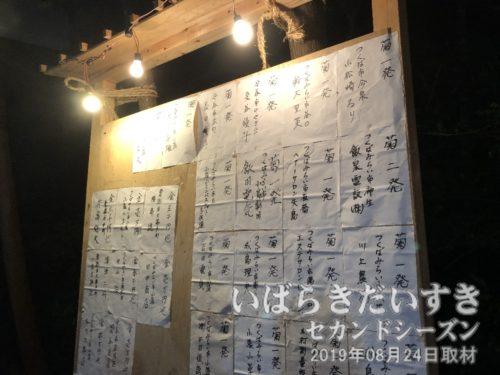 奉納花火の半紙が貼られた看板。