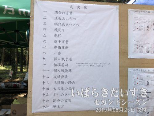 「式次第」と記載される「奉納相撲」のプログラム。
