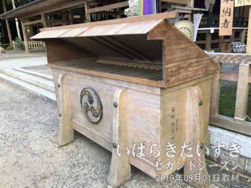 賽銭箱のには「巨人軍 城之内邦雄」の奉納文字。