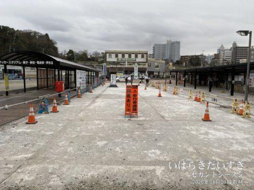 改修工事中の鹿島神宮駅前広場