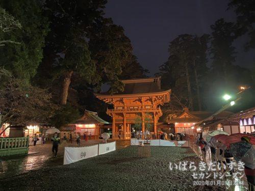 楼門を背景に、神馬が歩く場所を撮影。