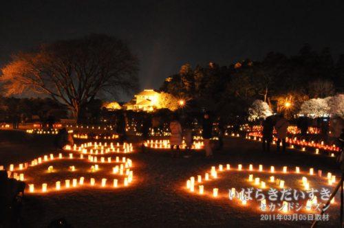 《夜梅祭》偕楽園 好文亭前の「見晴らしの丘」(2011年03月)