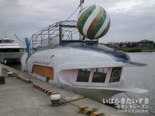 側面をベニヤで塞がれている遊覧船 フリッパー号