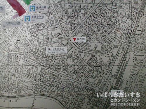 土浦ニューウェイ 高架道下の土浦市街地MAP。