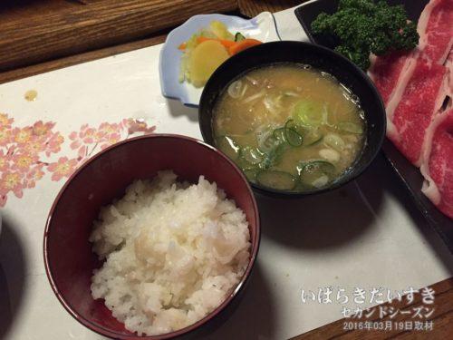 ご飯、味噌汁、漬物:ホテル網元