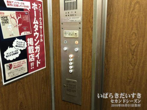 エレベーターの押しボタン:ホテルがんけ