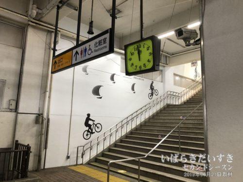 JR土浦駅 1番線 階段 自転車のイラスト