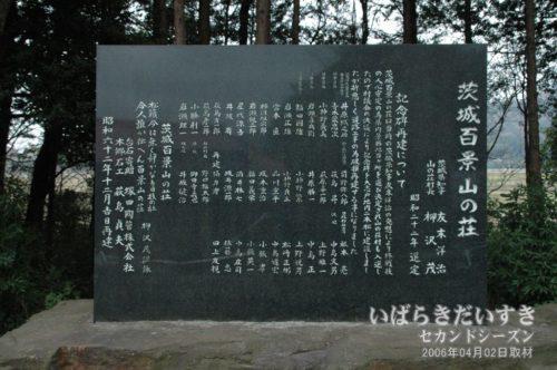 「茨城百景 山の荘」の碑。