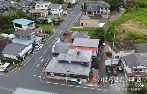 空から松屋製麺所を撮影する。(2020年09月01日撮影)