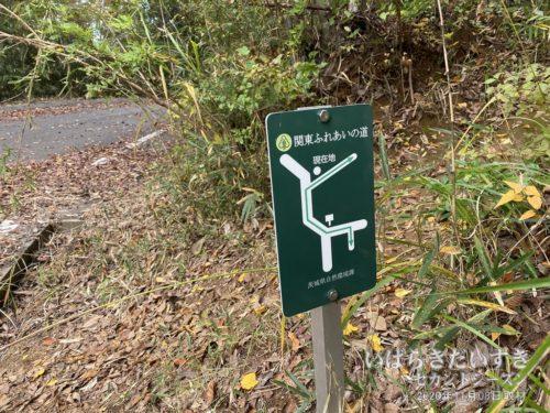 具体的な地図、コースを記しているのですが、この「緑色の関東ふれあいの道」の標識は、今までで初めて見るタイプのものです。