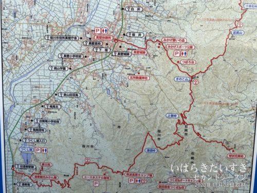 関東ふれあいの道 きのこ山方面から、真壁市街地(真壁休憩所)へ下山してきました。