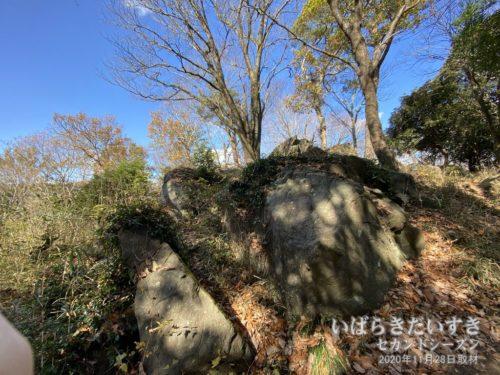 岩がゴツゴツする、山頂。