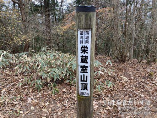 栄蔵室山頂(標高881m)に到着!