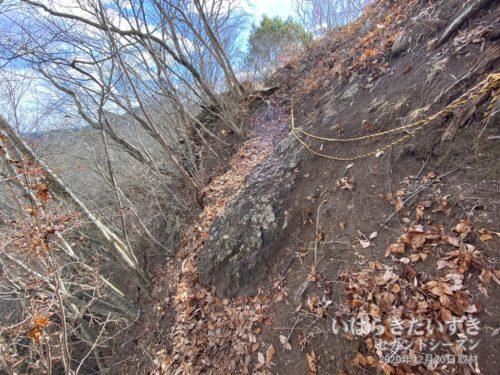 さらっと左が崖なロープ場。