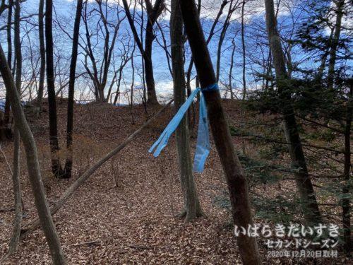 山道を歩いていると「青いリボン」があります。何を意味するのか?