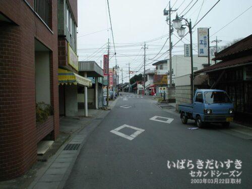結城街道を西に。遠くに万寿園が見える。(2003年)