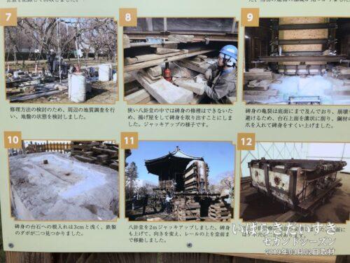 「弘道館記碑」を修復する作業(一部を掲載)。