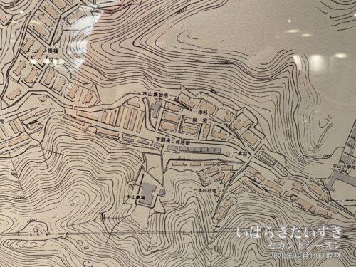 本山地区の当時地図。「本山劇場」の文字が見える。