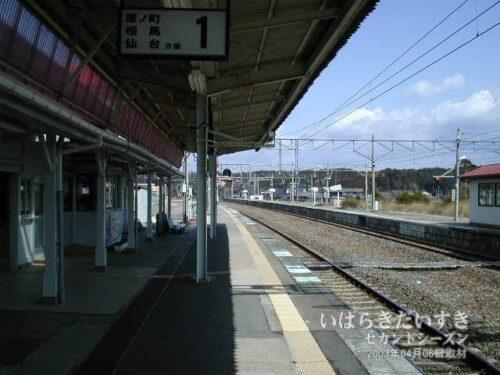 JR富岡駅ホームからいわき駅方面を望む。(2003年撮影)