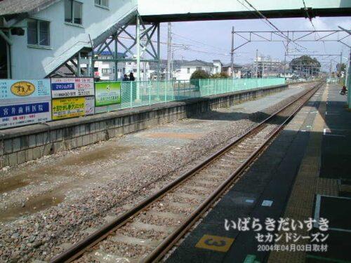十王駅ホーム / 高萩駅方面を望む。