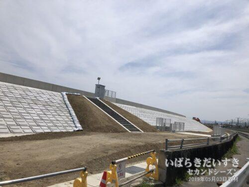 大北川沿岸のかさ増し工事。この光景を最初見たとき、ちょっとショックでした。。