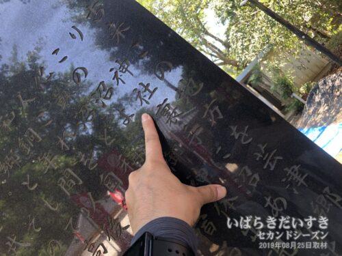 境内の碑には「神社裏手に沼あり」の文字。