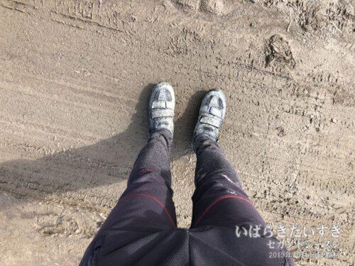 ここに来るまでに、自転車も俺自身も泥だらけです。