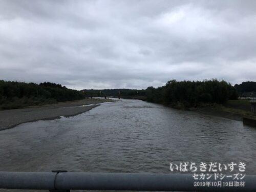 ホテル鮎亭前の那珂川。水量が多い。