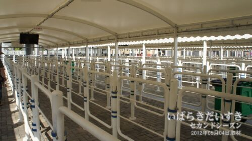 入場列の柵は、いつの万博でも似ている。